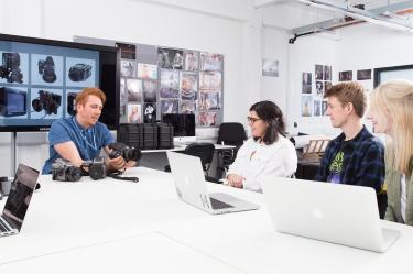 Students receiving an induction into medium format digital cameras