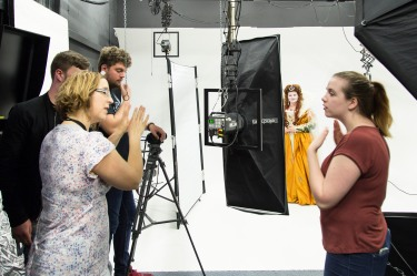 Staff supporting students, shooting theatre costumes in our infinity cove studio