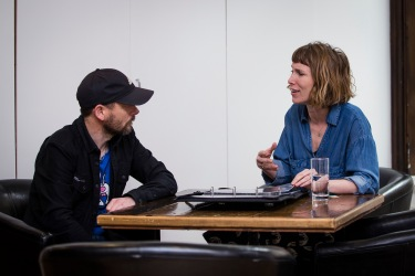 Year 3 student Ian Underwood enjoys a review with top advertising photographer Victoria Ling